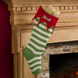 Knit Green Stripes Personalized Christmas Stocking