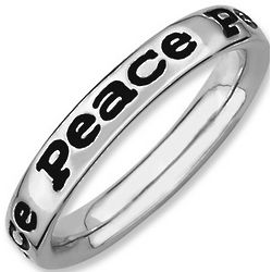 Peace Stack Ring in Sterling Silver