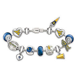 West Virginia Mountaineers Charm Bracelet with Swarovski Crystals