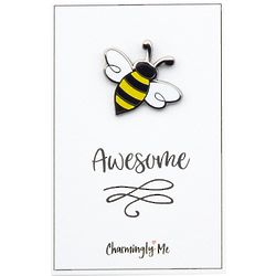 """Bee Awesome"" Bumble Bee Lapel Pin on Greeting Card"