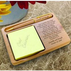 Personalized Love Never Fails Wooden Notepad & Pen Holder
