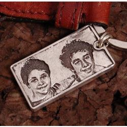 Fine Silver Portrait Key Chain