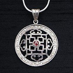 Silver & Garnet Mandala Necklace