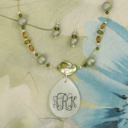 Engraved New Jade Pendant On Shell Pearl Necklace with Earrings