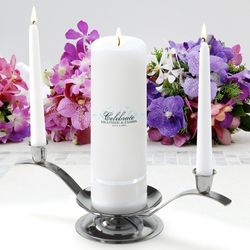 Personalized Charming Round Pillar Unity Candle Set