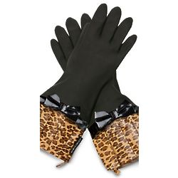Black Leopard Rubber Gloves