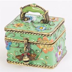 Floral Trinket Box with Bumble Bee Charm