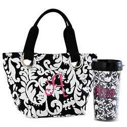 Personalized Black and White Initial Mini Tote with Travel Mug