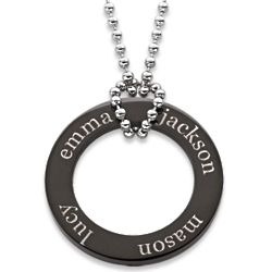 Everscribe Black Titanium Family Name Disc Necklace