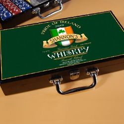 Personalized Irish Whiskey Design Poker Set