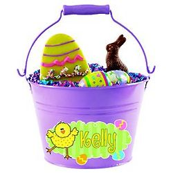 Purple Personalized Easter Tin Bucket