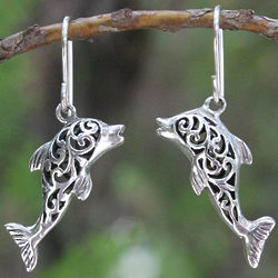 Dolphin Song Sterling Silver Dangle Earrings