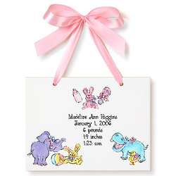 Girl's Personalized Animal Birth Announcement Tile