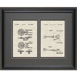 Star Trek Enterprise and Klingon Ship Patent Art Framed Print