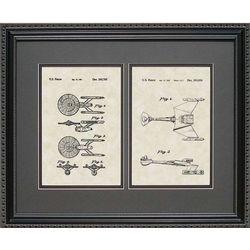 Star Trek Enterprise and Klingon Ship Patent Art Framed Print