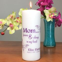 Forever My Mom Memorial Candle with Butterflies