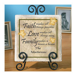 Personalized Faith, Love, Family Tumbled Marble Tile