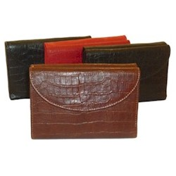 Ladies Leather Alligator Embossed Wallet