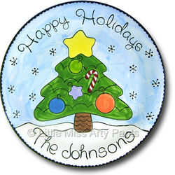 """Personalized 11"""" Christmas Tree Plate"""