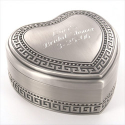 Personalized Antique Pewter Brushed Designed Heart Jewelry Box