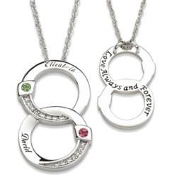 Couple's Name & Birthstone Circles Pendant with Diamond Accents