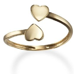 Double Heart 14k Gold Toe Ring