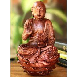 'Divine Serenity' Wood Statuette