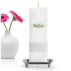 Personalized Charming Elegance Square Unity Candle with Stand