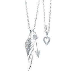 Cupid Arrow with Crystal Heart and Wing Necklace