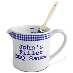 Personalized Blue Gingham BBQ Sauce Pot