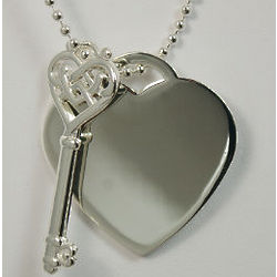 Engraved Key To My Heart Pendant