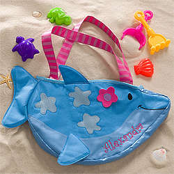 Personalized Dolphin Tote Bag with Beach Toy Set