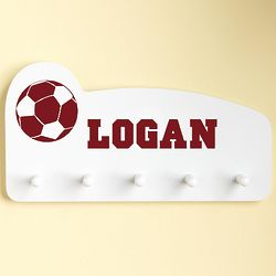 Burgundy Personalized Sports Wall Peg Rack