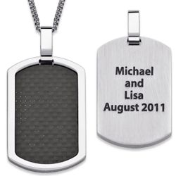Personalized Stainless Steel and Carbon Fiber Dog Tag