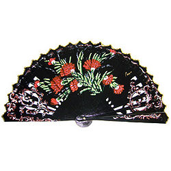 Handpainted Carnation Design Wooden Spanish Hand Fan