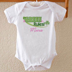 Personalized Green Rules Irish Shamrock Baby Bodysuit