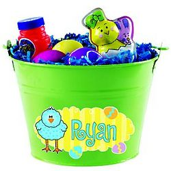 Green Personalized Easter Tin Bucket