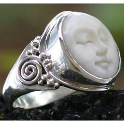 Men's Face of the Moon Sterling Silver Ring