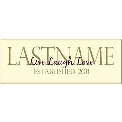 Personalized Live Laugh Love Last Name Sign
