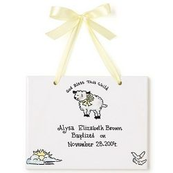 Personalized Christening Announcement Tile