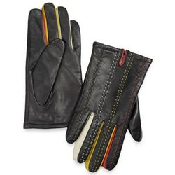 Italian Leather Gloves with Contrast Stitch