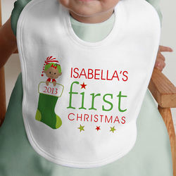 Personalized Baby's First Christmas Character Bib