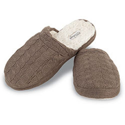 Truffle Wool Cable Knit Slippers