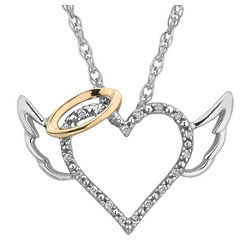 Diamond Angel Heart Necklace in Sterling Silver with 14K Halo