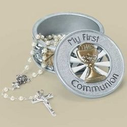 Multi-Tone Grapes and Wheat First Communion Rosary Box
