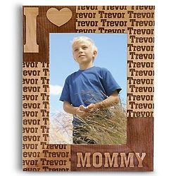 Personalized I Heart Small Wood Frame