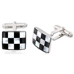 Mother-of-Pearl Checkerboard Cuff Links in Sterling Silver