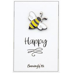 """Bee Happy"" Bumble Bee Lapel Pin on Greeting Card"