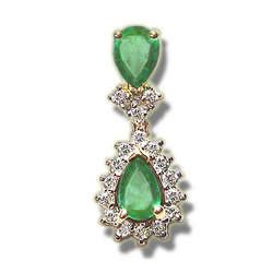 Emerald & Diamond Pendant in 14K Gold