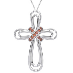 Red Diamond Cross Pendant in 14K White Gold